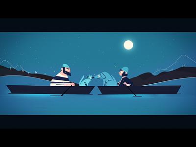 The Lake  dog cat mystery love moon stars night river animation cel illustration