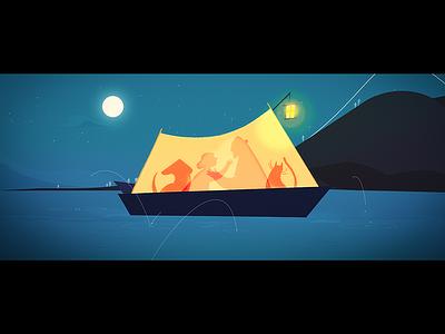 The Lake - Night kiss stars kiss night mystery moon love illustration dog cel cat animation