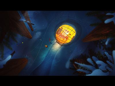Finland: sleeping in the woods borealis aurora mystic snow magic night illustration hotel eco
