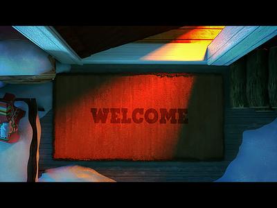 Home Safe Home open entrance light illustration welcome refugees door doormat night animation 3d