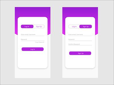 LogIn and SignUp UI design adobexd dribbble ui design