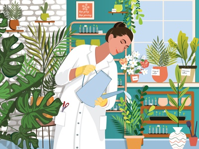 Woman #3 | Biological scientist banner vector art advertisement laboratory green florist flowers plants earth our planet love nature beauty power rights female science girl flat illustration