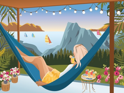 Woman #3 | Enjoying beautiful view in a hammock colorful bright vector painting graphic design view beautiful nature mountains sea resort woman female vector hotel girl flat art card illustration banner