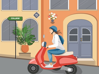 Woman #7 | Teenage girl riding a scooter woman riding road scooter bike teenage flat beauty cityscape architecture city girlpower female vectorart artwork girl banner card design illustration