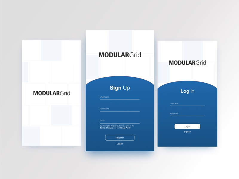 ModularGrid App Sign-Up Mockup design mobile signup ui dailyui dailyui 001