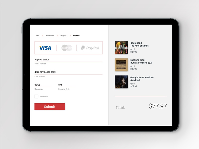 Credit Card Checkout ui design dailyui002 daily ui checkout checkout page