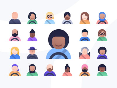 Diversity first animation face vector avatar illustration people illustration avatar avatar design riders drivers diversity illustration cabify cabifydesign