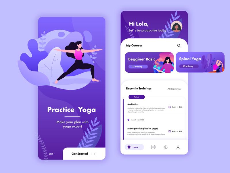 UI&UX - Mobile App - Yoga Practice mobile ui dashboad design mobile ux mobile app design mobile app ui webdesig adobe photoshop