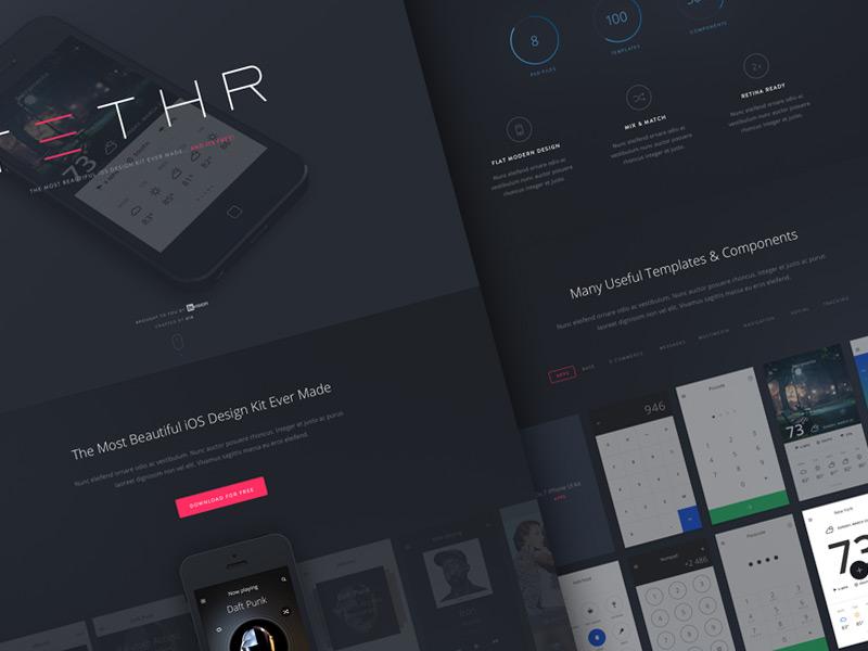 TETHR  - Free UI Kit  ui invsion web design landing page ui kit