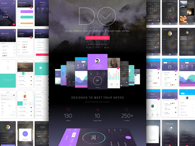 Get DO UI Kit for Photoshop & Sketch mobile iphone material sketch free kit to-do prototyping app invision ux ui