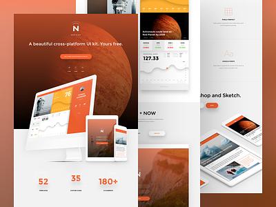 UI kit for Photoshop and Sketch ui invsion web design landing page ui kit