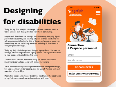 Friendly sign up page for people with disabilities paris france french illustration typography ui design uxui uxdesign ux disability disabilities @daily-ui @accessibility