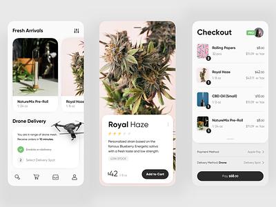 Cannabis delivery app - Vol. 1 service design delivery drone weed cannabis app design app ecommerce minimal ux design ui design ux ui
