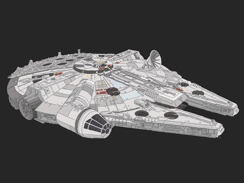 Millennium Falcon illustration star wars