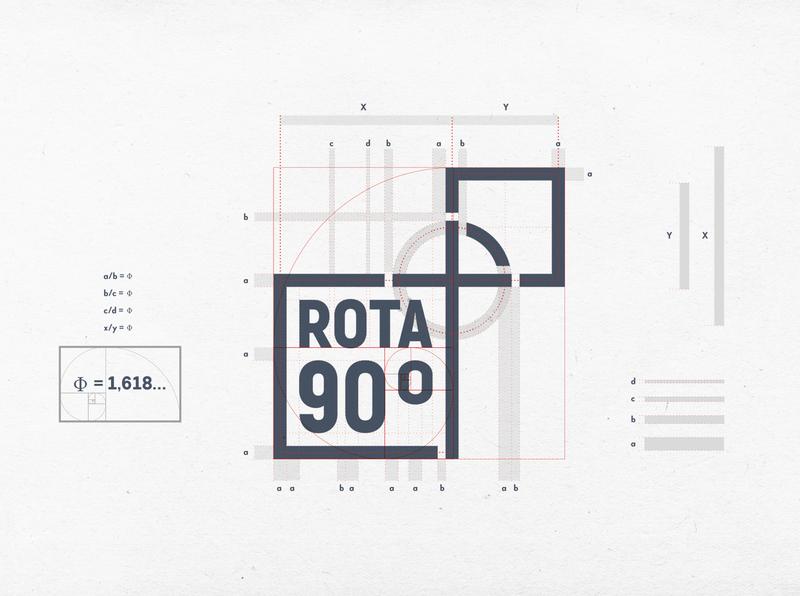 Rota 90 Graus brand golden ratio logo graphic design