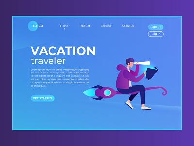 landing page vacations traveler 1 web design branding illustration ui ux uidesign travel vacation landingpage