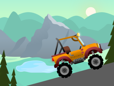 Trip with Jeep trip vector illustration