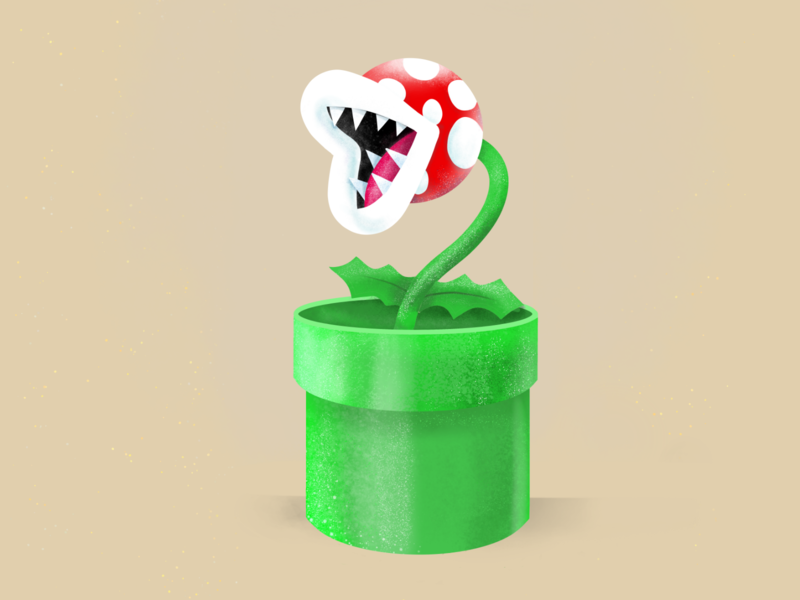 Piranha Plant Super Mario nintendo gamers games game krita design piranha plant supermario mariokart mariobros graphic design illustration