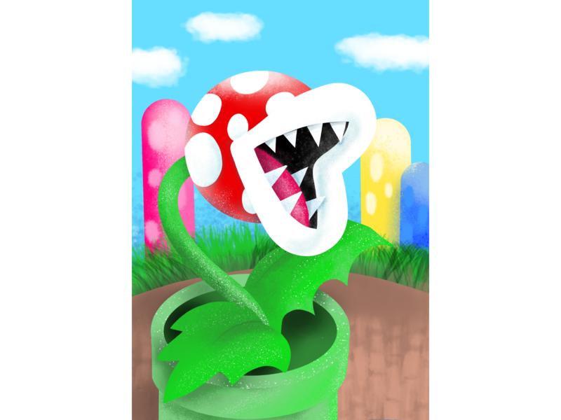 Piranha Plant nintendo gamers games game krita piranha plant plant mario supermario design vector illustration