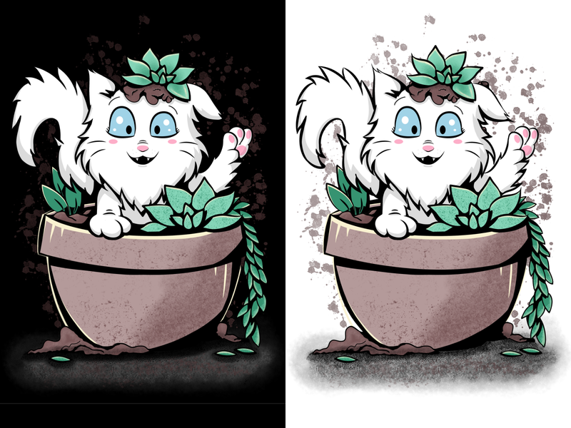 Do you want to play with me? play black  white blue eyes pet animal cute design graphic design affinity kawaii funny plants white cat wacom intuos illustration succulent