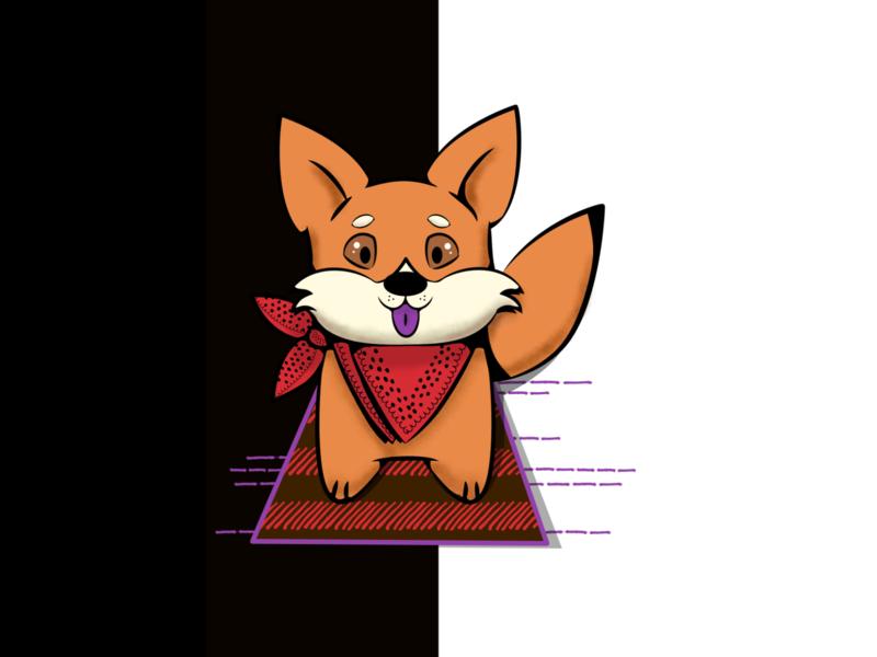 Akita or Chow Chow? divertido fofo kawaii cute fun black  white raposa animal red purple chow chow akita fox pet dog wacom intuos affinity illustration