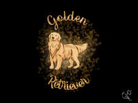 Golden Retriever petshop black t-shirt animal cute affinity wacom intuos graphic design design illustration retriever gold golden dog pet