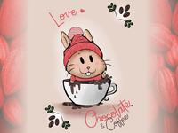 Love Chocolate & Coffee wacom intuos affinity graphic design design illustration animal café cacau chocolate kawaii cute pet rabbit cup coffe