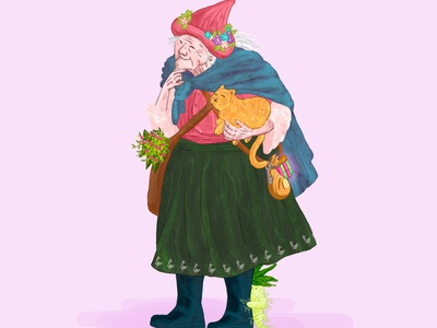 Baba Yaga colorized fairy tales fairy tale fairytale folklore elderly old lady pastel colors childrens book children book illustration illustration adobe photoshop character design characterdesign character mandrake chalk witch cat color colorful