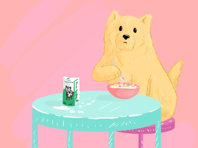 Believe or not, this is a creepypasta. creepy pasta yellow pastel colors illustration colorful adobe photoshop dog illustration pink milk dog cereal cereals spoon creepy