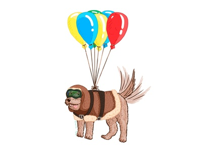 Aviator dog... wait, are these balloons? childrens illustration childrens book children book illustration characterdesign illustration adobe photoshop flying fly fur happy aviator cute colorful balloon balloons doggo doggy dog