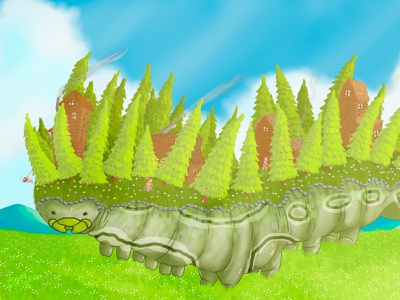 Moving forest forests cloud clouds sky pine tree pines worm caterpillar field green woods cabin forest chalk lighting childrens book children book illustration illustration colorful adobe photoshop