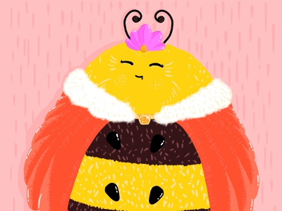 A fluffy queen cape insect honey flower childrens illustration cute pastel colors characterdesign colorful illustration adobe photoshop pink red yellow queen bee bee queen