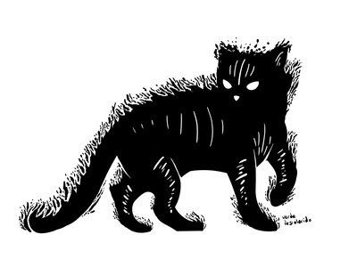 Michifuf of the dark purr white black shadows shadow ghost ink inking darkness fire dark black and white characterdesign illustration adobe photoshop cats cat