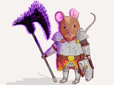 "The axe name is ""Lion slayer"" hero character games animal videogame dark medieval knight magic armor axe mice mouse lighting colorful characterdesign illustration adobe photoshop"