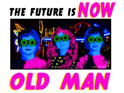 The future is now black blue pink lighting poster design t-shirt design neon glow kid sci-fi scifi futuristic future cyberpunk neon colors neon light colorful adobe photoshop illustration