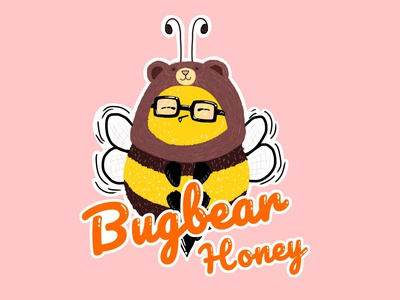 Bugbear hat glasses childrens book pastel colors children book illustration illustration colorfull cute sticker colorful yellow insect bumblebee honey bee bear bug bugbear