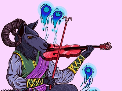 A kind musician adobe photoshop colorful pink characterdesign pastel colors horns violin soul devil goat musician music