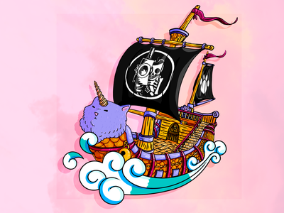 Going Michi jolly roger fish cute water sea pirate ship cat wave yellow pink pastel colors colorful adobe photoshop illustration