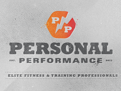 Fitness Professionals logo distressed texture bolt orange gray wip