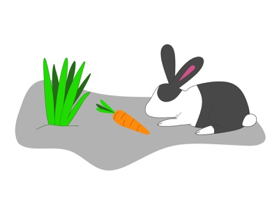 Bunny in the garden cute animal character design illustration