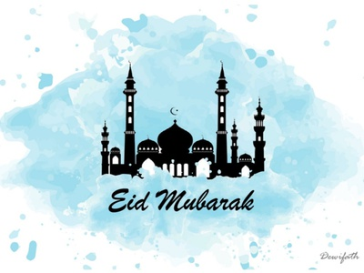 Happy eid mubarak greeting card graphic design illustration