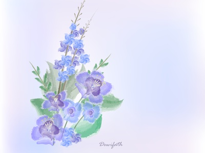 Purple & blue flowers flowers watercolor illustration