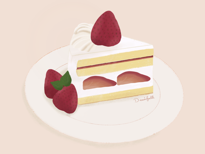 Strawberry cake procreate handdrawn illustration
