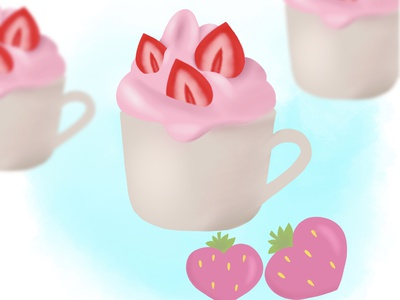 Strawberry ice cream food illustrator digitalart ice cream food illustration procreate illustration