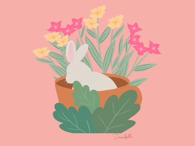 Sleepy bunny in a cup flowers floral procreate childrens illustration cute animal illustration