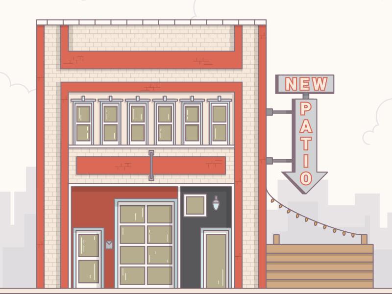 Border Brewing New Patio skyline brick building patio new brewing border