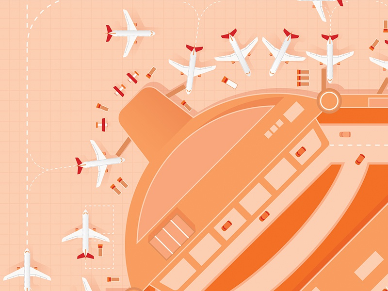 Airport Project - Cover aviation orange cars jets planes runway airport
