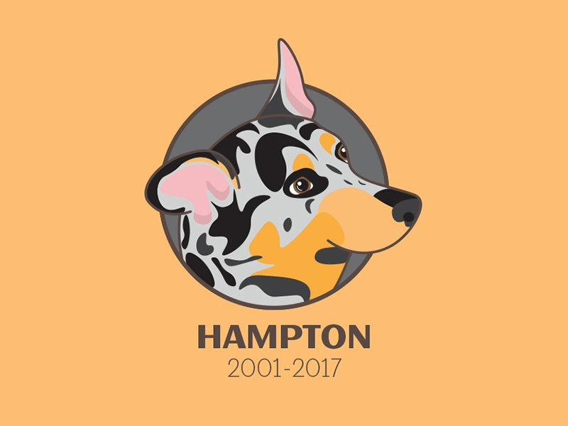 Hampton 2001-2017 puppy rip peace in rest healer blue face dog hampton