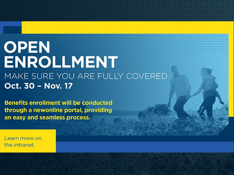 Open Enrollment benefits health concept yellow blue happy family enrollment open