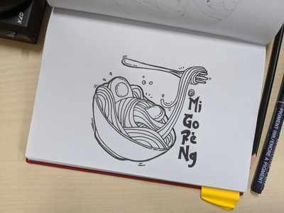 Noodle - Mi Goreng food illustration sketch drawing draw doodleart doodle artist art design